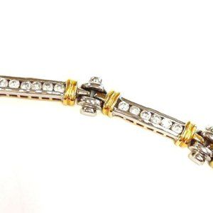 CZ Bracelet / Sterling Silver and Gold Overlay